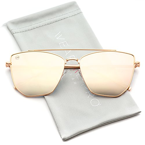 WearMe Pro - Double Bridge Elegant Geometric Designer Inspired Cat Eye - Sunglasses Mirror Gold