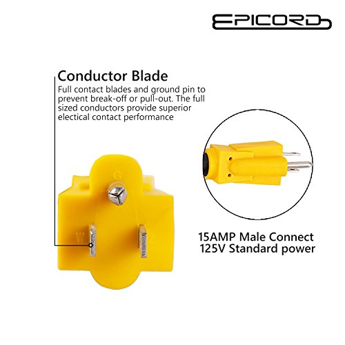 Epicord RV Camper Power Adapter Cords 15amp Male Plug to 50amp Female Adapter RV Dogbone Electrical Adapter,12 inch 10/3 AWG by EPICORD (Image #2)
