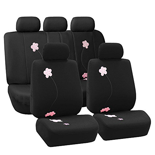 FH Group Universal Fit Full Set Floral Embroidery Design Car Seat Cover, (Black) (FH-FB053115, Airbag compatible and Split Bench, Fit Most Car, Truck, Suv, or Van) (Machine Cars Embroidery)