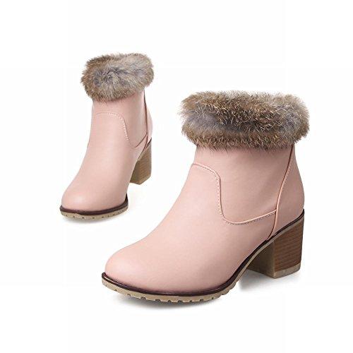 Schouder Dames Womens Pull-on Nepbont Elegantie Wollen Voering Charme Mode Mid Dikke Hak Winter Jurk Laarzen Roze
