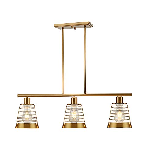 BONLICHT Modern Linear Chandelier Lighting 3 Light Brushed Brass Metal Cage Pool Table Light Gold Industrial Vintage Kitchen Farmhouse Ceiling Light Fixture UL Listed