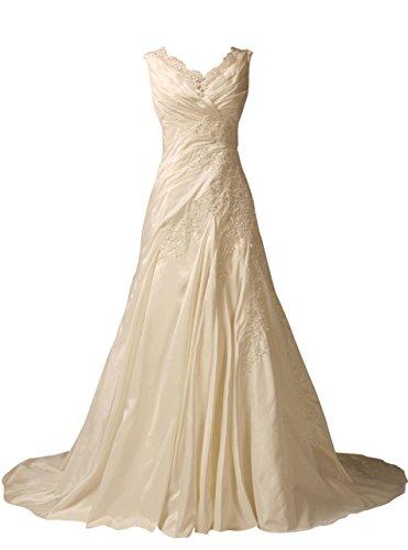 V-Neck Taffeta Wedding Dress - 4