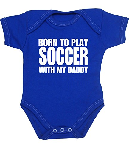 Price comparison product image BabyPrem Born to Play Soccer with my Daddy Baby Bodysuit Vest NB-12 mth ROYAL 9-12