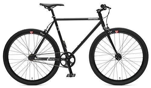 Retrospec Bicycles Mantra V2 Single Speed Fixed Gear Bicycle, Matte Black, (Single Gear Bike)