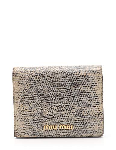 (ミュウミュウ) miu miu ST.LUCERTOLA 二つ折り財布 レザー アイボリー マルチカラー パイソン型押し 5MV204 中古   B07S5JMV82