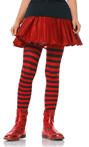 Girls Striped Tights 7 color combinations 3 Sizes (Medium, Black/Red)