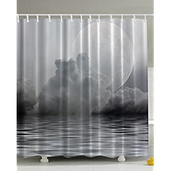 clouds gray dark midnight twilight digital photographs print home villa textile bathroom decor art design for clawfoot tub deluxe fabric shower curtain