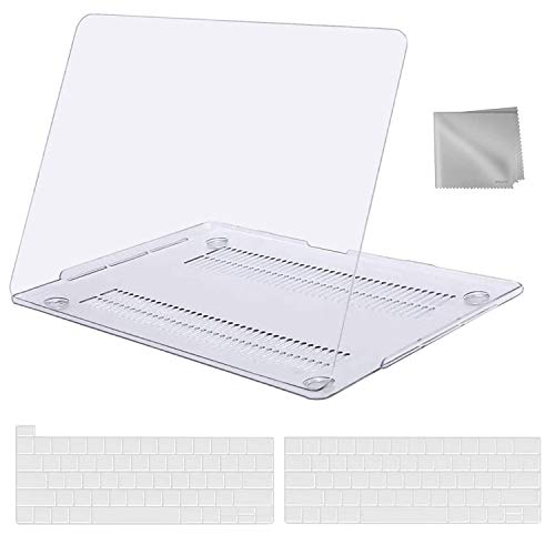 MOSISO MacBook Pro 13 inch Case 2020 2019 2018 2017 2016 Release A2289 A2251 A2159 A1989 A1706 A1708, Plastic Hard Shell&Keyboard Cover&Wipe Cloth Compatible with MacBook Pro 13 inch, Crystal Clear