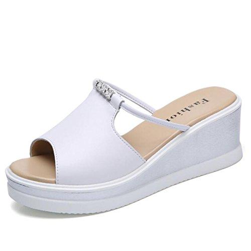 Sandali Moda con Estivi White Sandali Zeppa Spessi Strass da Sandali Donna 0wS84xq8Z