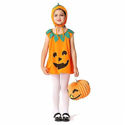 Wonder Woman Halloween Costume Party City (Women Children Kids Halloween Costume 2pcs Girls Orange Pumpkin Costume Suit Party Cosplay Magic Dress)
