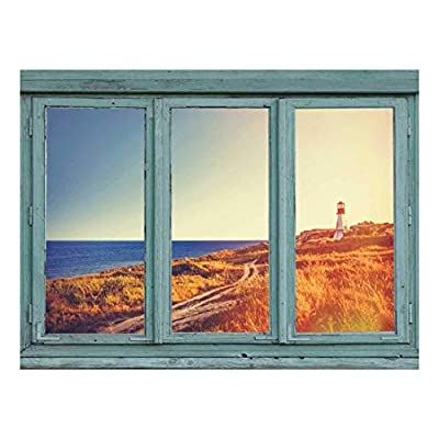Dazzling Expertise, Lighthouse overlooks The Ocean Down a Windy Path on a Seaside Knoll Wall Mural, Created Just For You