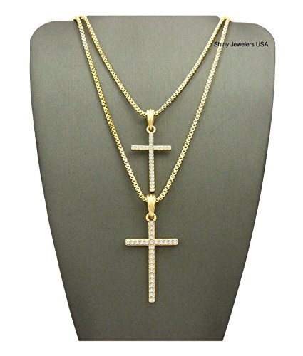 MENS ICED OUT DOUBLE NEW CROSS HIP HOP PENDANT BOX CHAIN NECKLACE SET OF 2 (20