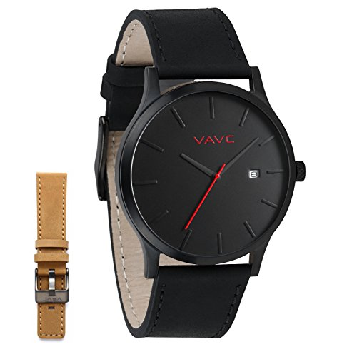 VAVC Mens Womens Unisex Casual Analog Black Leather Band Quartz Watch with One Interchangeable Leather Band