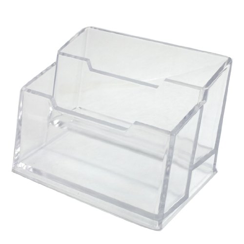 2 Layers Clear Rectangle Hard Plastic Business Card Holder Box