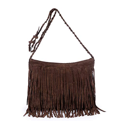 Vnlig Crossbody Shoulder Ms. Crossbody Bag Tote Wrap Sanding Borlas Hot Sale Tassel Crossbody Bag (Color : Brown)