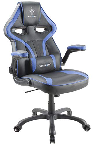 BLUE SWORD Gaming Chair, Racing Car Style Gaming Chair with Large Bucket Seat, Computer Chair with Tilting and Swivel Function, Flip-Up Armrest, Leatherette, Blue