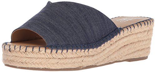 (Franco Sarto Women's Pinot Espadrille Wedge Sandal, Denim, 6 W US)
