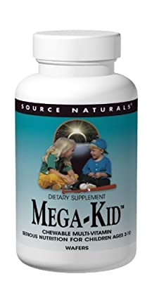 Source Naturals Mega-Kid Chewable Multi-Vitamin, Natural Berry Flavors, 120 Wafers