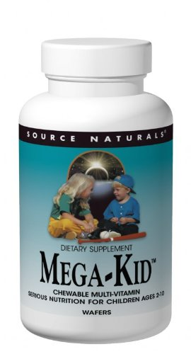Source Naturals Mega-Kid Chewable Multi-Vitamin, Natural Berry Flavors, 120 Wafers