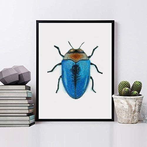 Insecto pared, Cuadro de pared enmarcado con madera natural, Impresión artística, impresión original, impresiones artísticas ilustraciones