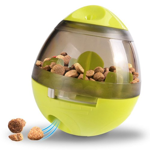 Wellood Dog Treat Dispenser Ball Toy, Interactive Treat-dispensing Ball for Dogs & Cats: Increases IQ and Mental Stimulation, Tumbler Design Slow Feeder Easy to Clean Green