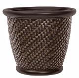 Suncast 1807J4 Wicker Resin Herringbone Planter, 18″ x 16.5″, Dark Brown