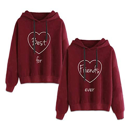Matching Hoodies for Best Friends Girl BFF Jumper Sweatshirt 2 Pcs(red,Best-S+Friends-S)