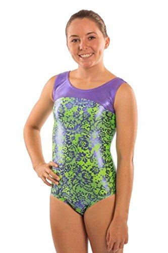 Lizatards Leotard Lace it Up in Green - Big Girl's XL (14)