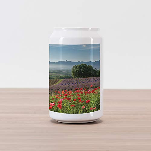 Ambesonne Flower Cola Can Shape Piggy Bank, Poppy Flower Lavender Farm Foggy Morning Agriculture Outdoor Crops Red Purple Art, Ceramic Cola Shaped Coin Box Money Bank for Cash Saving, Multicolor