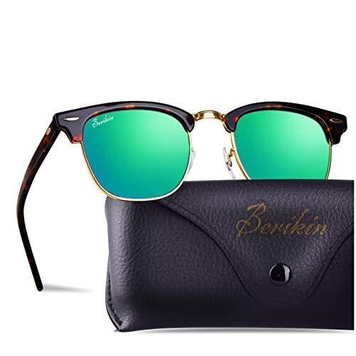- Berikin Vintage Square Style Sunglasses For Men Women Toroise Frame Green Flash Glass Lenses 100% UV400 Protection