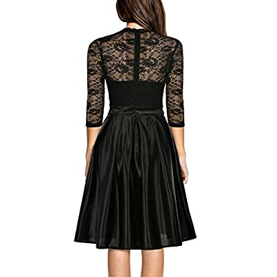 Mmondschein Women Vintage 1930s Style 3/4 Sleeve Black Lace A-line Party Wedding Dress at Women's Clothing store
