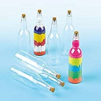 Baker Ross Botellas de plástico con tapón de corcho (Paquete de 4) Para pintar y decorar con niños: Amazon.es: Juguetes y juegos