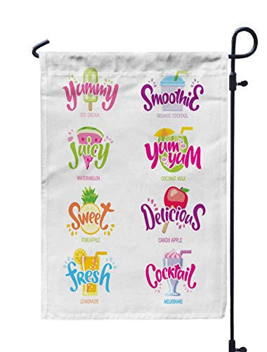 Shorping Season Garden Flag, 12x18Inch for Holiday and Seasonal Double-Sided Printing Yards Flags Set Fun Label Yummy Smoothies Juicy yumyum Sweet Delicious cockta -