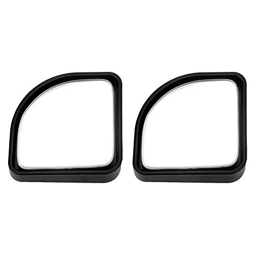 Senzeal 2x Rear View Mirror Fan Shape Reverse Auxiliary Wide-angle Lens 360 Degree Adjustable Blind Spot Mirror Black