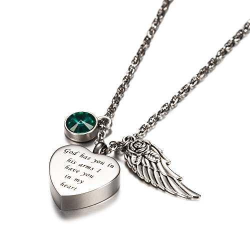 AMIST God has You in his arms with Angel Wing Charm Cremation Jewelry Keepsake Memorial Urn Necklace with Birthstone Crystal -