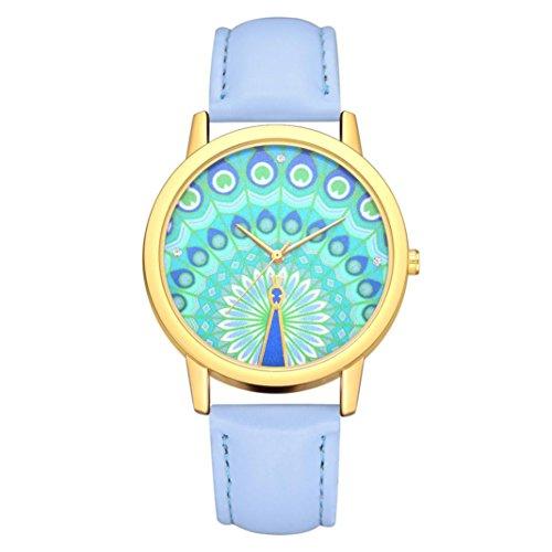 BEUU 2018 Peacock Dial Leather Strap Watch New Wholesale Price Luxury Fashion Band Analog Quartz Round Wrist Watches Watch Wristwatch Fashion Watches Quartz Men Women Men's Jewelry (G)