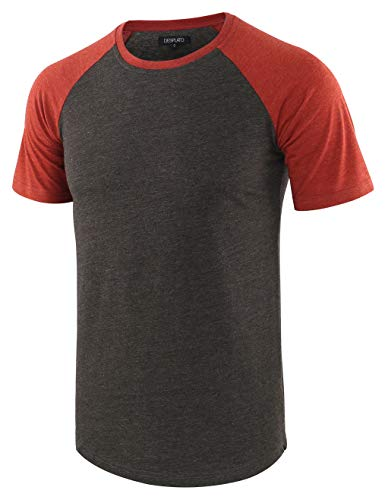 DESPLATO Mens Casual Basic Vintage Active Short Raglan Sleeve Crew Neck T Shirt H.Charcoal/Rusty XL