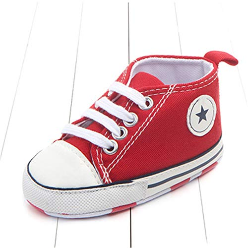 New Canvas Classic Sports Sneakers Newborn Baby Boys Girls First Walkers Shoes Infant Toddler Soft Sole Anti-Slip Baby Shoes (7-12months, Red Star)