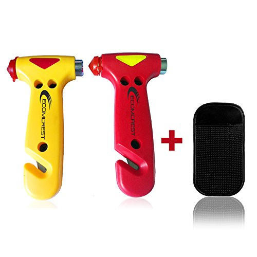 (Car Safety Hammer, Window Breaker and Seatbelt Cutter. Pack of 2. Comes With Dashboard Mat)
