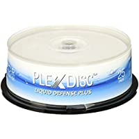 PlexDisc Water Resistant Glossy White Inkjet Printable BD-R 6x 25GB Blu-ray, 25 Disc Spindle