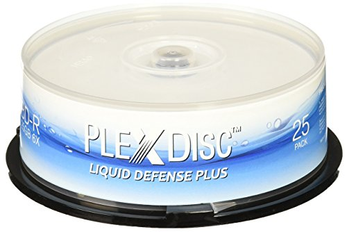 PlexDisc Water Resistant Glossy White Inkjet Printable BD-R 6x 25GB Blu-ray, 25 Disc Spindle -