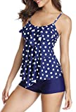 HOLIPICK Women 2 Piece Flounce Polka Dot Printed Tank Top with Boyshorts Bottoms Tankini Set Bathing Suits S New Blue