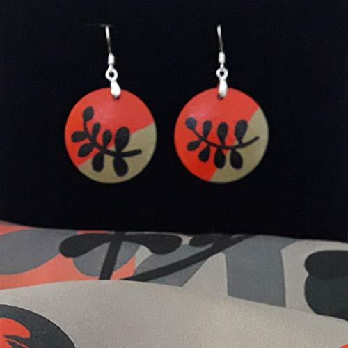 Earrings Hand Painted Circle Wooden Women Jewelry Silver Hooks Handmade Designer Fashion Art Birthday Christmas Gift Boho Orange Black Beige Colorful