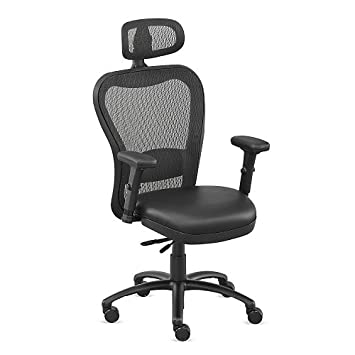 Black Polyurethane Big And Tall Mesh Chair With Headrest   NBF Signature  Series Performa Collection