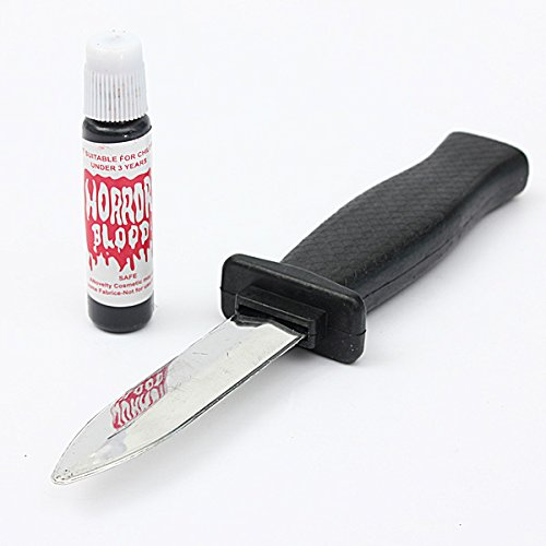 Halloween Fake Knife Blood Horrible Scary Tricky Prop Halloween Supplies