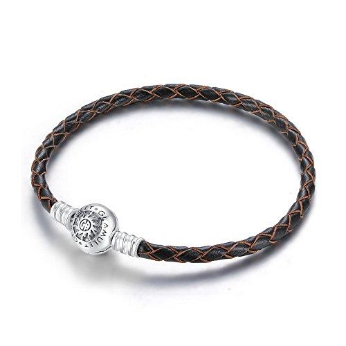 Glamulet Jewelry - 19 cm Black Leather Bracelet -- 925 Sterling Silver -- Fits Pandora Charm
