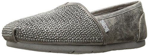 Skechers BOBS Women's Luxe Bobs-Big Dreamer Flat, Pewter, 7.5 M US
