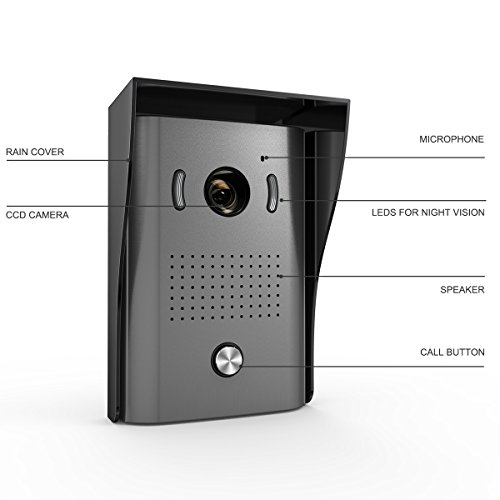 1byone Video Door Phone Intercom System Doorbell Kit, 2-Wire for Easy Installation with 49ft Cable, Control 2 Locks, Night Vision HD Camera and 7-inch Color Monitors