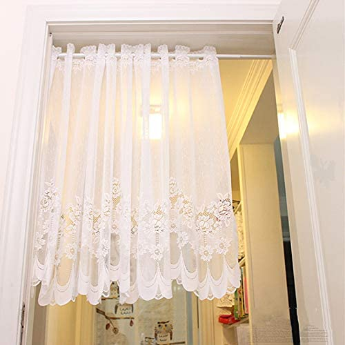 1 Panel Dining Room Rod Pocket White Lace Sheer Curtains Valance 35 Inch Long Wave Bottom Kitchen Voile Curtain Cafe Door Curtain Short Curtain Tier Window Treatment Drapes Tulle Room Divider Amazon Ca