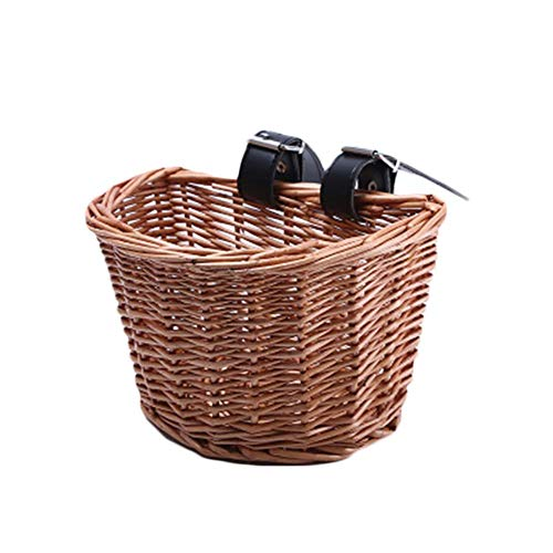 Fablcrew Children's Wicker Basket for Bicycle, Front Bicycle Wicker Basket, Bike Basket with PU Leather Straps for…
